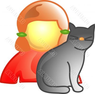 Girl with pet cat icon