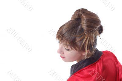 girl stay to turn the head backward