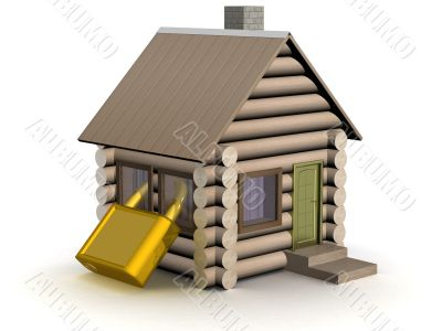 Wooden small house. The safety concept. 3D image.