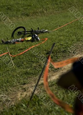 Downhill rider in an accident