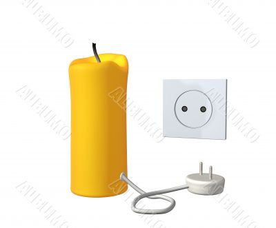 Yellow 3d candle with an electric cord