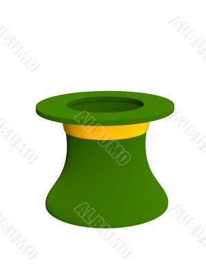 3d hat leprechaun green color. Objects over white