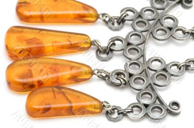 beads with amber close up