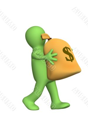 3d puppet, carrying in hands the big bag of money