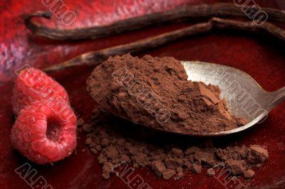 raspberry and cocoa powder