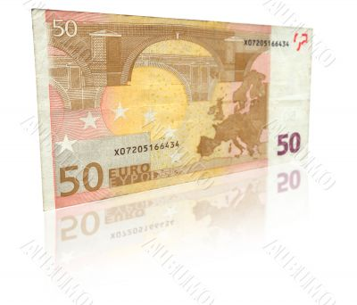 Fifty Euro banknote with reflection