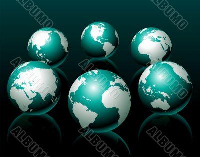 globe illustration six variation