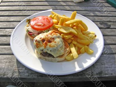 Posh Burger and Chips