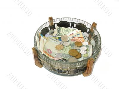 Vase with money from the different countries