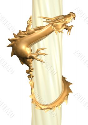 3d statue of the gold dragon twisting a column