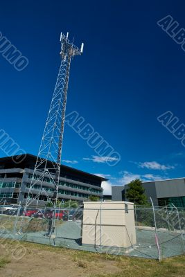 Cellular/Mobile Phone Radio Base Station Agains a Blue Sky
