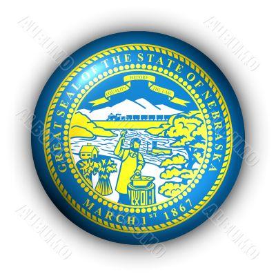 Round Button USA State Flag of Nebraska