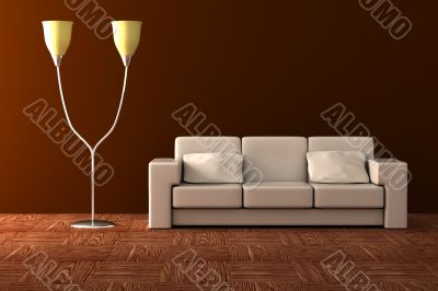 Floor lamp and sofa. Details of an interior.
