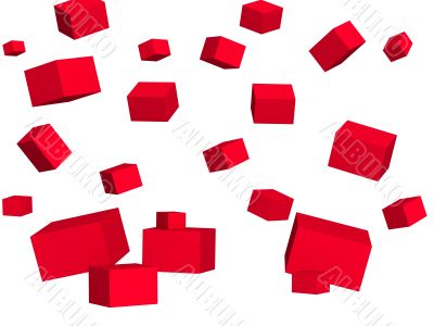 Abstract background - falling red boxes