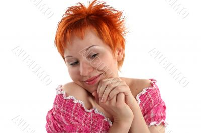 Flirting young red haired woman isolaited on white background