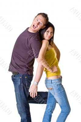 romantic young couple in playful mood