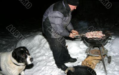 Preparation of a shish kebab