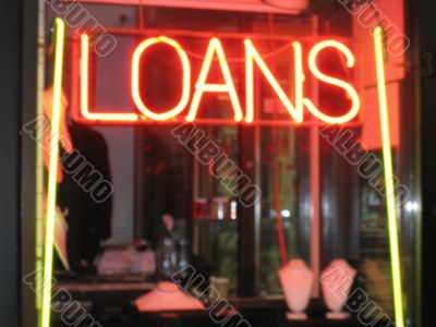 Signs for loans in pawnbrokers shop