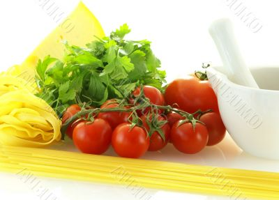 fresh ripe tomatos with parsley, cheese and pasta