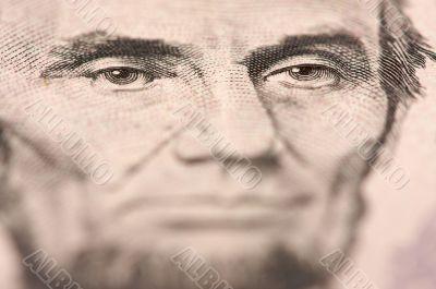 Macro of Five Dollar Bill`s Lincoln