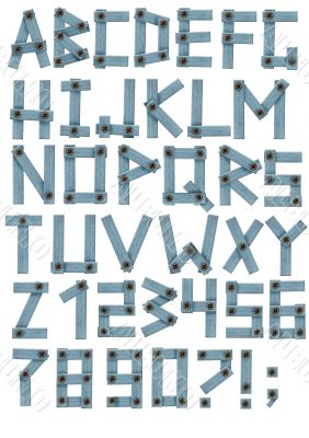 Alphabet - letters from a jeans fabric