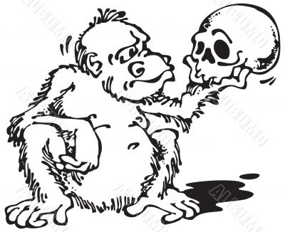 Monkey and Skull_Black