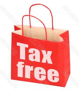 red paper bag with tax free sign