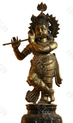 isolated vintage bronze Buddhist statuette