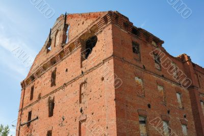 Museum - panorama Stalingrad fight - The destroyed mill. Volgograd. Russia.