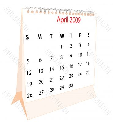 Calendar of a desktop 2009 for April