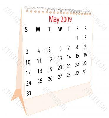 Calendar of a desktop 2009 for May