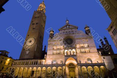 Cremona, the illuminated cathedral at night