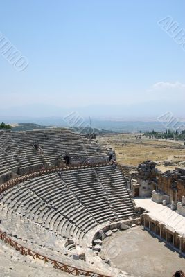 Amphitheater in ancient city Hierapolis. Pamukkale, Turkey. Midd