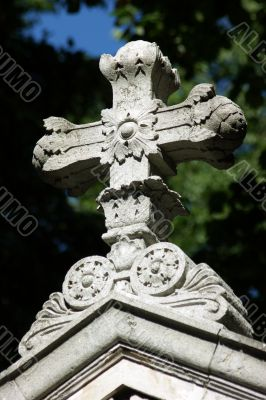 Cross on a grave at Vienna`s Central Cemetery.