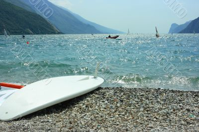 Surf board on Garda coast