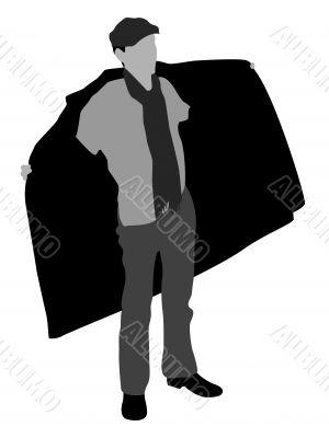 man showing coat