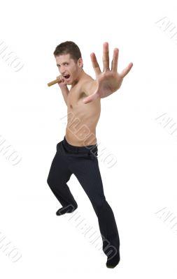man doing martial arts move