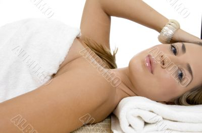 relaxing charming woman