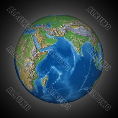 shined planet. 3D image. illustrations