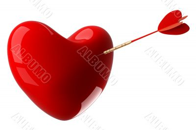 Heart pierced by an arrow. 3D image.