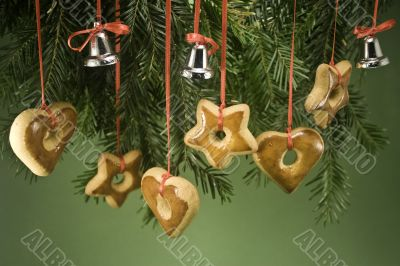 Ornaments hanging from branch