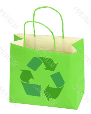 shopping bag with recycle symbol