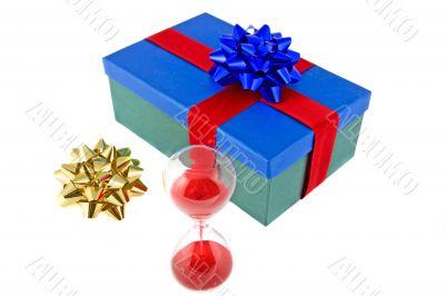 Christmas present with hour-glass