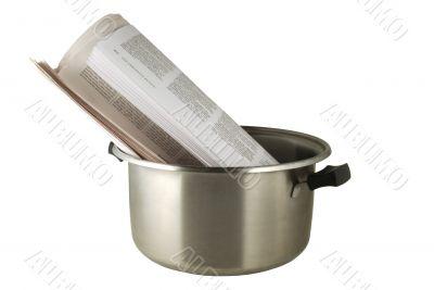 Hot news, the newspaper in a saucepan