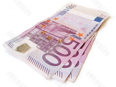 stack of european currency isolated