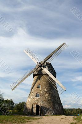 Traditional dutch windmill in Latvia