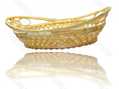 Hand made wooden basket with mirror reflection isolated over whi