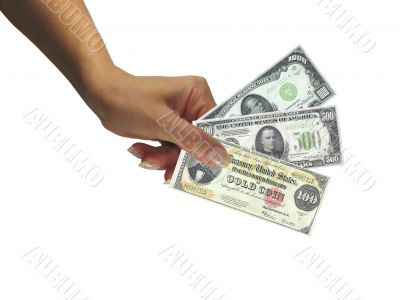 Human lady hand giving cash rare dollars currency isolated over