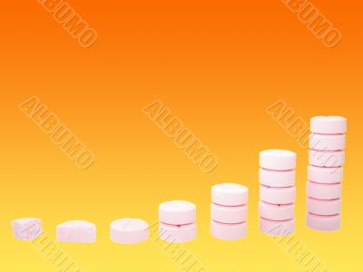 Ladder from pharmaceutical drugs over gradient background