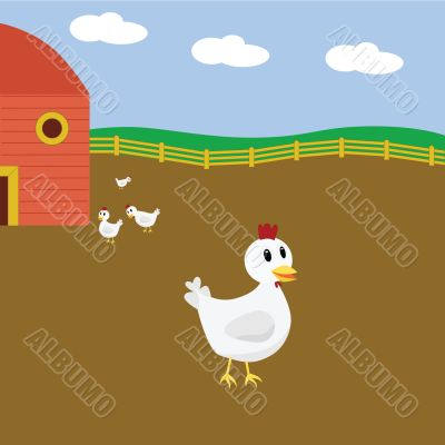 Cartoon chickens on farm